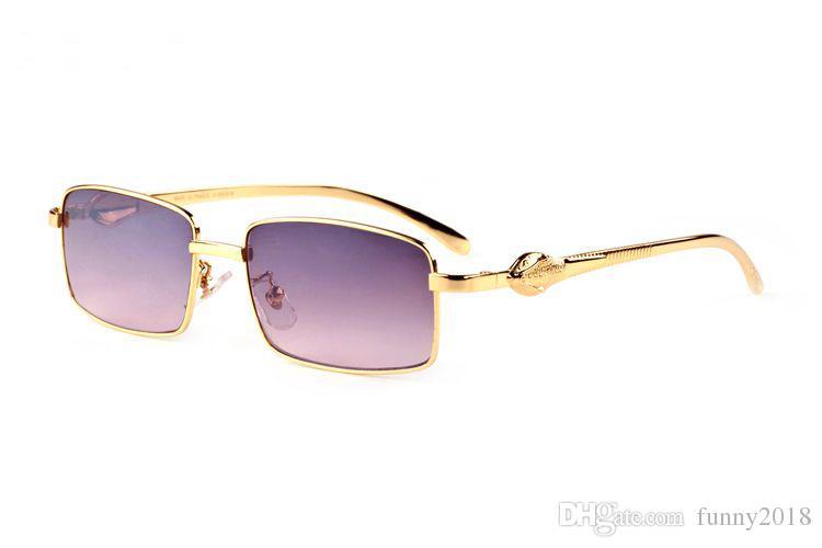 Fashion rimless buffalo horn glasses sunglasses 2019 summer styles mens designer sunglasses for men women clear lens with original box