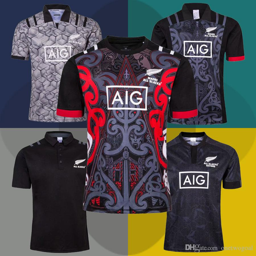 fdf26c348a2e5 Compre Hot 2018 2019 All Blacks Jersey De Rugby Maori Camiseta De  Entrenamiento New Zealand All Blacks POLO Camiseta De Rugby World Cup  League Jersey Talla ...