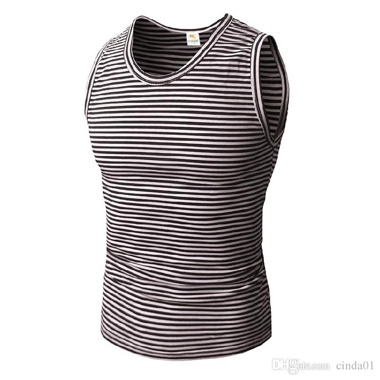 Mens Striped Fitness Gym Tank Tops Aerobics Clothing Male Sports Workout  Sleeveless Body Hugging Vests UK 2019 From Cinda01 32a043734