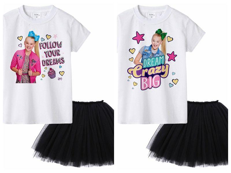 e889e3bf84b4 Jojo siwa Summer Baby Girls Sets White Short Sleeve T-shirt Tops + Black  Tutu Dress 2pcs Suits Kids Girl Clothes