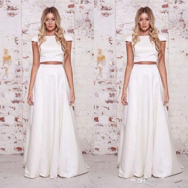 Make Your Own Wedding Dress: Discount 2018 Modest Elegant Satin Jewwl Two Piece A Line