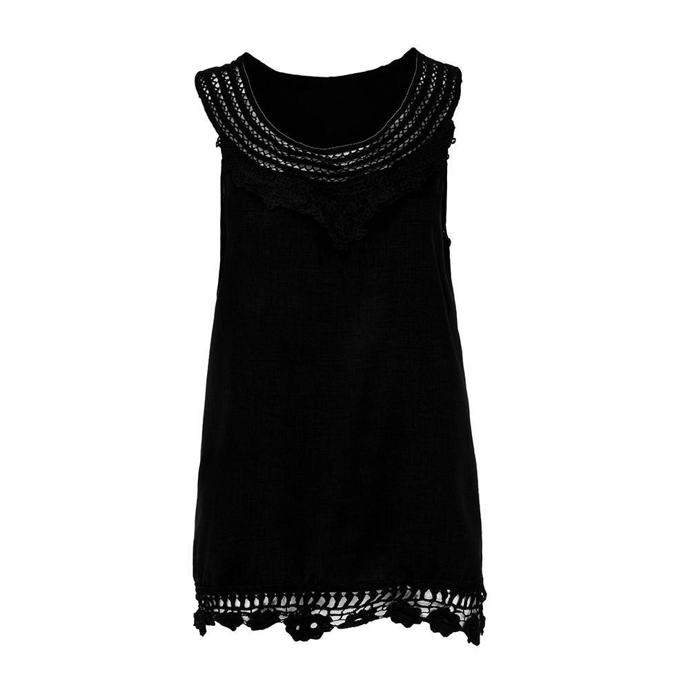 a76917ec2e0 Women O Neck Sleeveless Pure Color Lace Plus Size Vest Tops Loose T Shirt  2018 New Haut Femmes Mode Camisetas Mujer Verano 2018 As T Shirt Online T  Shirts ...