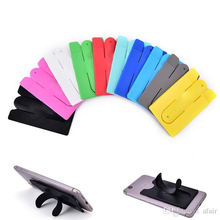 13 couleurs Universal Portable de type U téléphone stand Holder 3M autocollant tactile Porte-monnaie silicone Banque de carte de crédit Support d'emplacement pour l'iPhone 11 Pro max