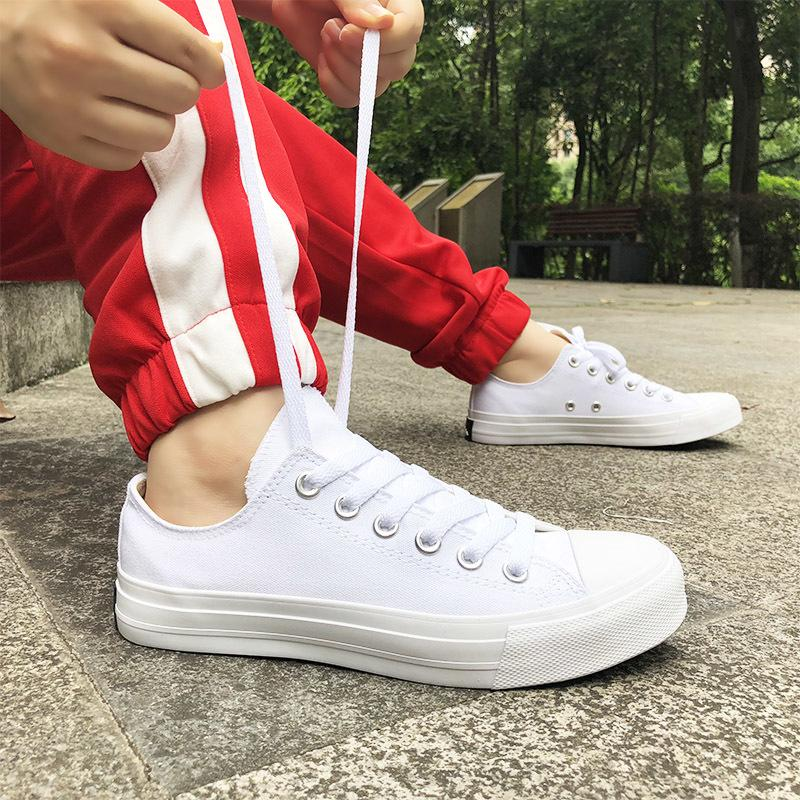 Compre 2019 Wen Branco Sapatos Clássicos Da Lona Low Top Sneakers Das  Mulheres Dos Homens Atado Plimsolls Ginásio Sapatos De Skate Sólidos  Formadores De ... b22880496c1