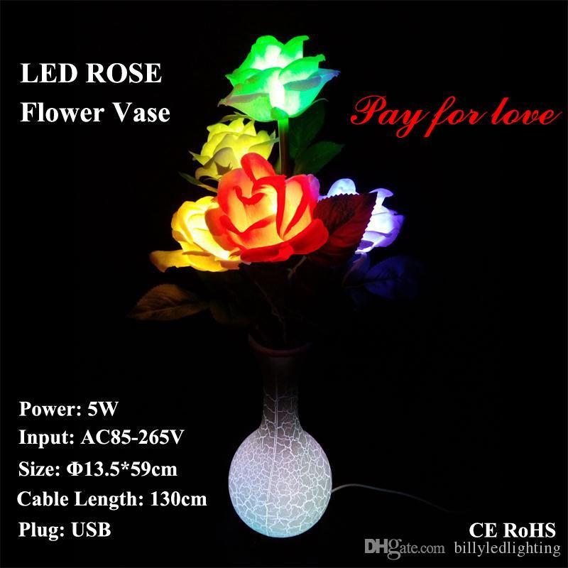 Secteur Rêve Petite Prise Amie Usb Vase De Led Fleur Rose Vacances Adaptateur Table Lampe Éclairage Cadeau Noël Bureau wuTPOkXZi