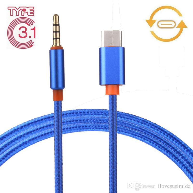 USB 3.1 Type-C to 3.5mm Earphone Braided Car Stereo AUX Audio Cable Cord Adapter