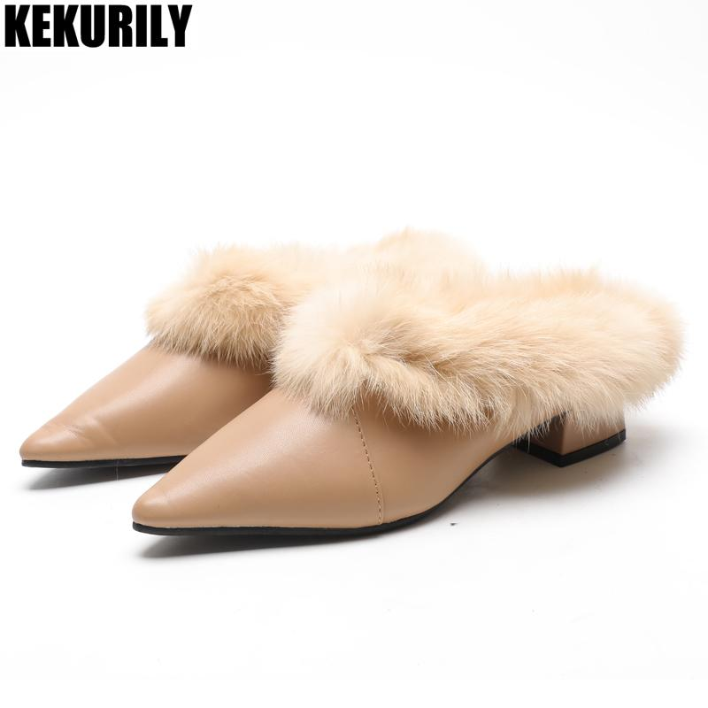 7dd5dbe0b0b0 Winter Rabbit Fur Slippers Women Brown Furry Mules Slides Ladies Chunky  Heels Shoes Pointed Toe High Quality Sandalias Mujer Boots For Women Black  Boots ...