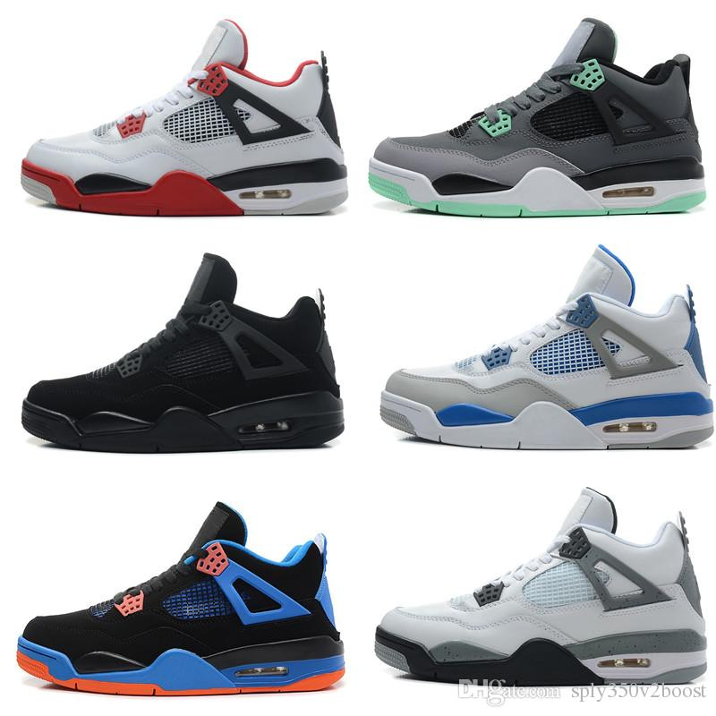 ffa0ed26c227 2018 Traderjoes With Box Mens And Womens Basketball Shoes Sneakers For Men  4S White Cement Motorsport Pure Money Bred Fire Red Boots Shoes Men  Basketball ...