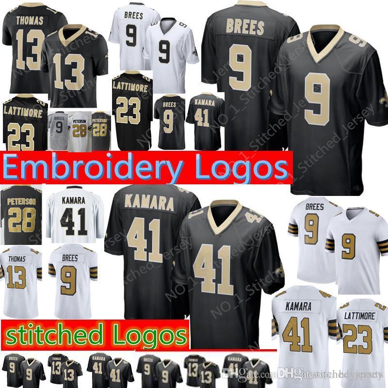 e75da1391 Compre New Orleans Saints 9 Drew Brees 41 Alvin Kamara Jersey 13 Michael Thomas  23 Marshon Lattimore 28 Adrian Peterson Camisetas De Fútbol A  25.38 Del ...