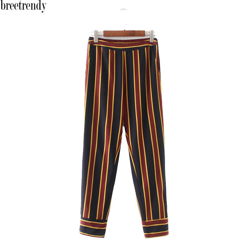 1745c7eb7af 2019 K49 Women Casual Vertical Striped Print Pants Ladies Retro Match All  Trousers From Stripe, $22.91 | DHgate.Com