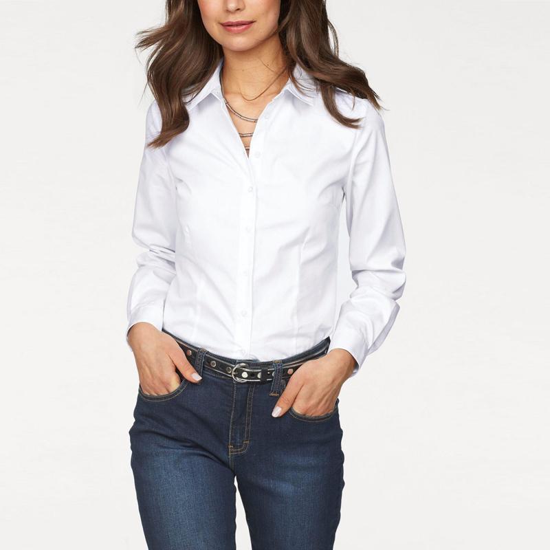 2019 Dioufond White Formal Shirt Women Long Sleeve Blouse Blue