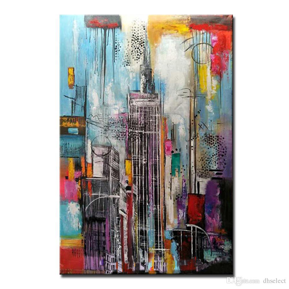 Mintura 1pc Pintura Al óleo Con 100 Pintado A Mano En La Lona Para La Sala De Estar Reloj De Lona Moderno Abstracto Edificio 4 Tamaño