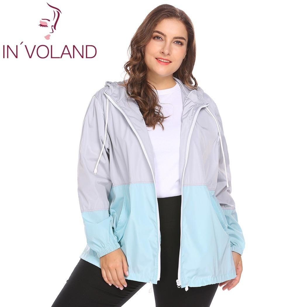 f9e43f05661 IN VOLAND Women Raincoat Jacket Plus Size XL 5XL Lightweight Hooded  Drawstring Patchwork Waterproof Large Basic Coat Plus Size S1031 Rain Jacket  Biker ...
