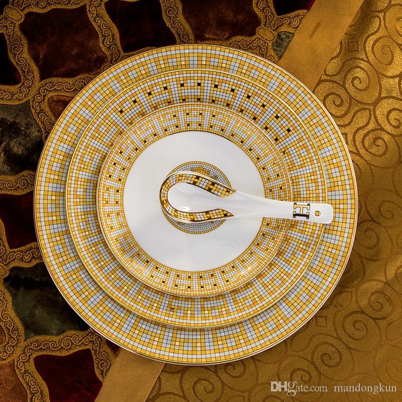 60 pz / set di ceramica da tavola mosaico osso europeo Cina set di posate casa piatti set ciotola regalo di nozze