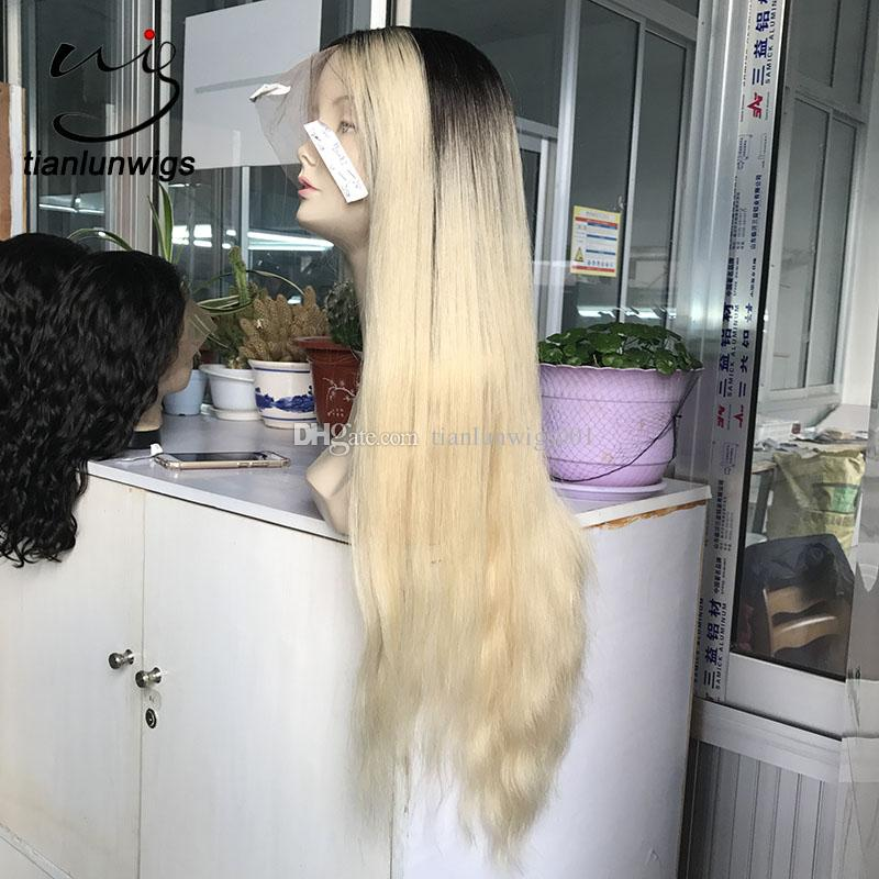 beautifull #2 613 ombre color long chinese hair full lace wig , tow tone color dark roots platinum hair lace front wig custom make
