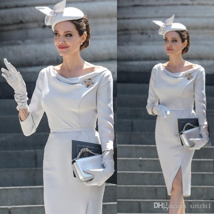 608a15d4f4 Compre 2018 Angelina Jolie Mismo Vestido Blanco Elegante Dividir Celebrity  Mujeres De Alta Calidad Diseñador De Una Pieza Vestido De Cuello Oblicuo A   45.08 ...