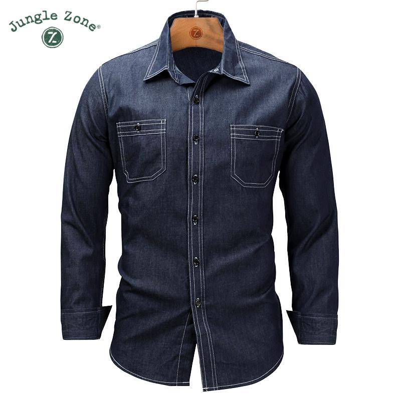 9c59c553ac Compre Camisa De Solapa De Gran Tamaño De Los Hombres De Europa Camisa De  Mezclilla Trabajo Lavado Más Bolsillos Camisas De Manga Larga Con Botones  Para ...