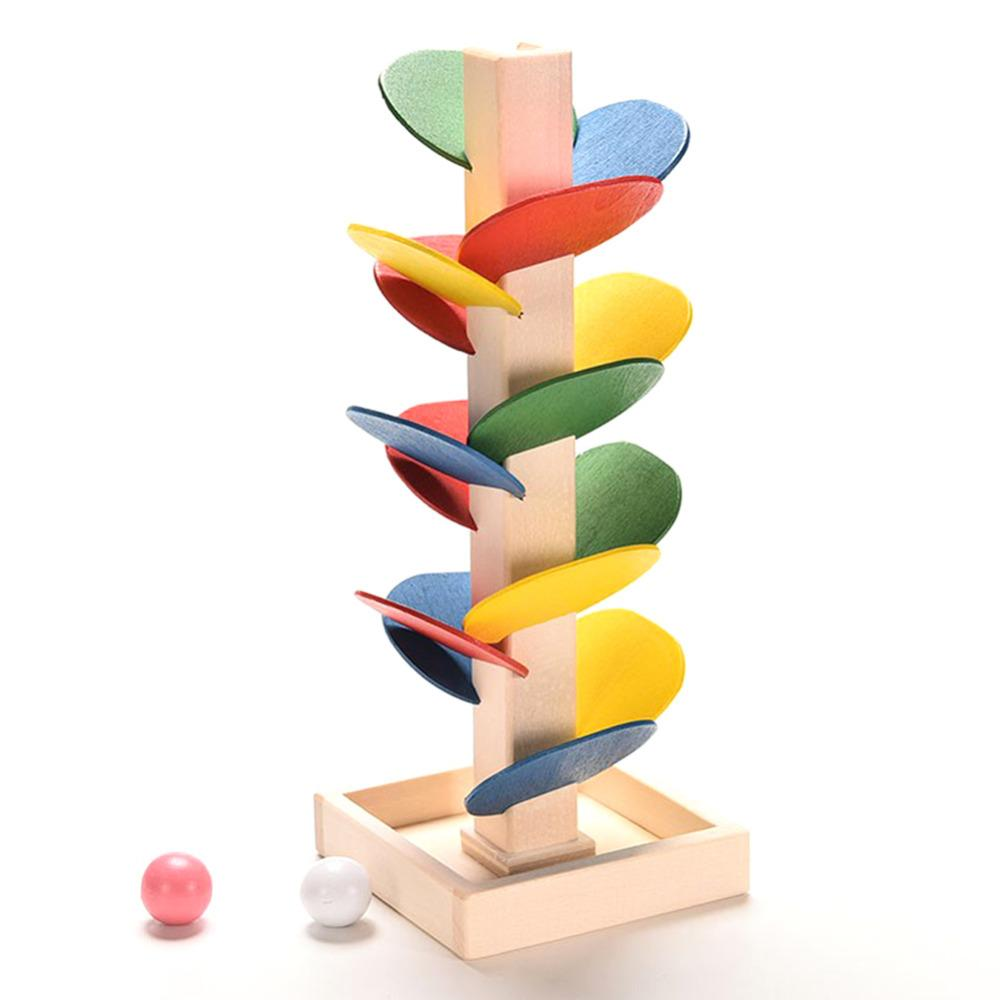 Children Diy Wooden Toys Colorful Building Blocks Tree Marble Ball