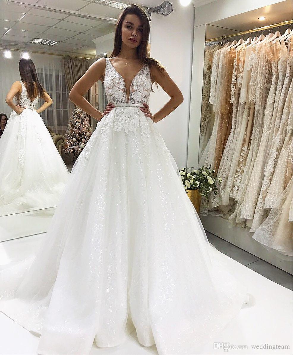 c2d6cf44 Discount Sparkly Berta Backless Wedding Dresses Lace Appliqued A Line  Plunging Neck Plus Size Bridal Gowns Open Back Tulle Vestido De Novia Long  Sleeve ...