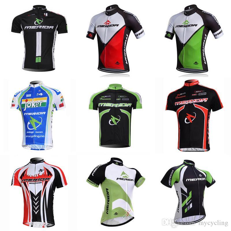 2018 Pro MERIDA Ciclismo Roupas de Bicicleta Camisas de Verão de secagem  rápida Homens Ciclismo Jersey Roads topos de Bicicleta MTB Bike Wear  Sportswear ... 26643a276596b