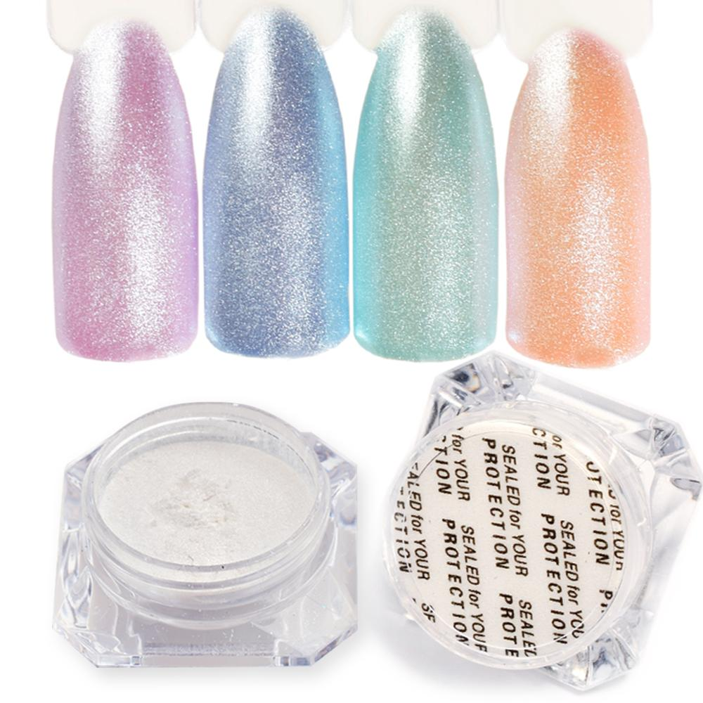 1 Box Diamond Pearl Mermaid Powder Shining White Nail Art Glitter ...