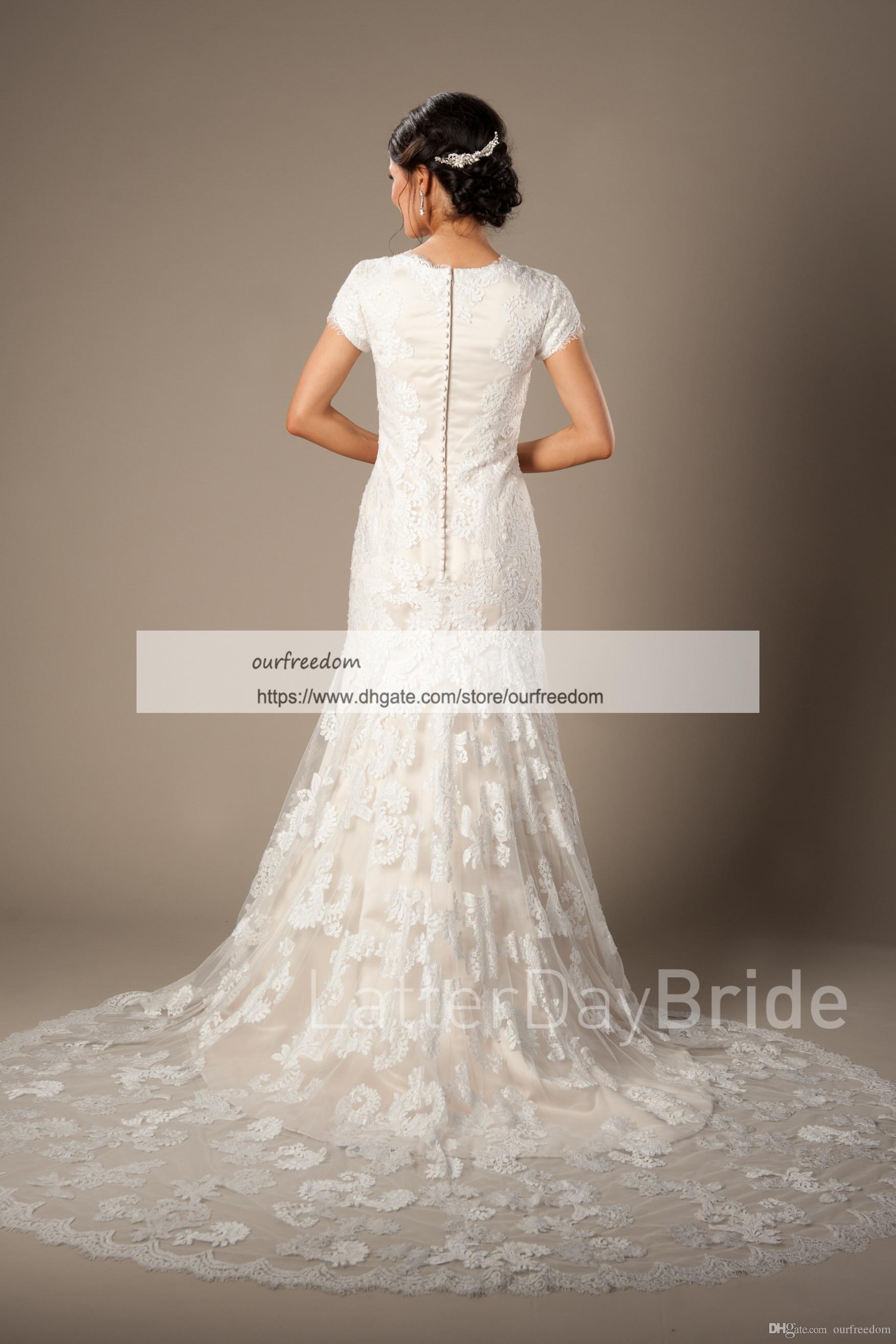 2019 vestidos de boda modestos del cuello de la joya barata con los apliques de la sirena de la manga corta vestido al aire libre rústico del estilo nupcial por encargo tren del barrido