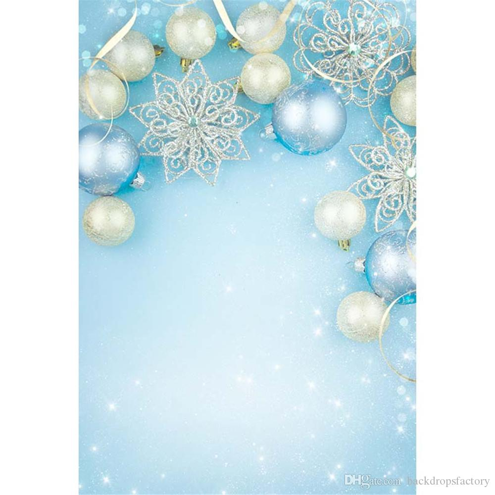 2018 light blue christmas backdrop photography printed xmas balls snowflakes glitters polka dots baby kids bokeh photo backgrounds from backdropsfactory - Light Blue Christmas Ornaments