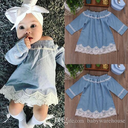 46254e646f0b 2019 Newborn Baby Clothes Infant Toddler Girls Lace Off Shoulder ...