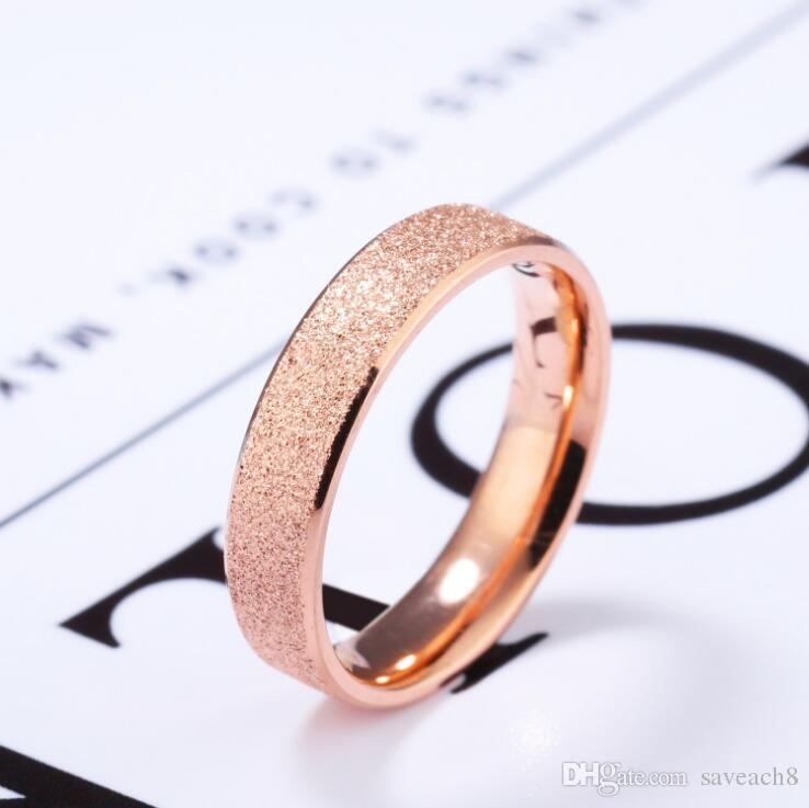 Grosshandel Rose Gold Tone Matt Verlobungsringe 4mm Einfache