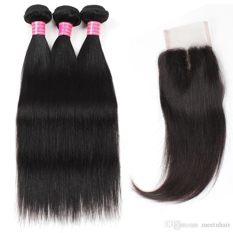 Meetu 도매 확장 8A 밍크 브라질 페루 말레이시아 버진 스트레이트 3 인간의 머리카락 묶음 여성을위한 4 * 4 레이스 폐쇄 모두 8-28inch Jet Black