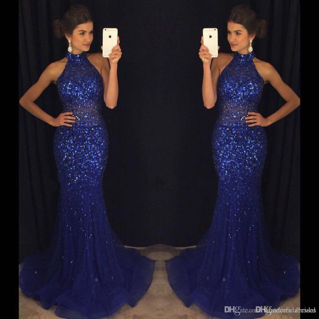 2018 Mermaid Navy Blue Prom Dresses High Neck Full Rhinestone See Through Tulle Evening Party Gown Formal Dresses
