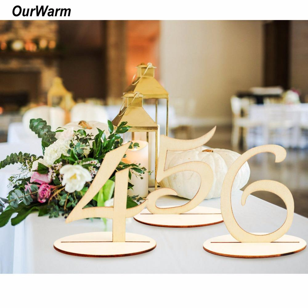 Ourwarm Set Wooden Table Numbers Holder Rustic Wedding Birthday
