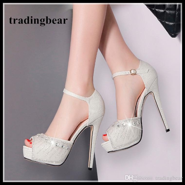 Bridal Wedding Shoes Silver Rhinestone Crystal Studded Platform Ankle Strap Heels  Womens Prom Shoes Size 34 To 39 2018 Mens Leather Boots Mens Shoes Online  ... 8bce93215352