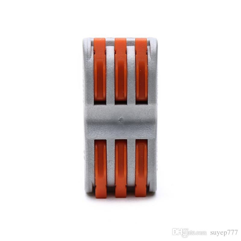 SPL-3 28-12 AWG PCT-213 222-413 Push Wire Connector 6 Pin Universal Compact Connector Terminals Block gray