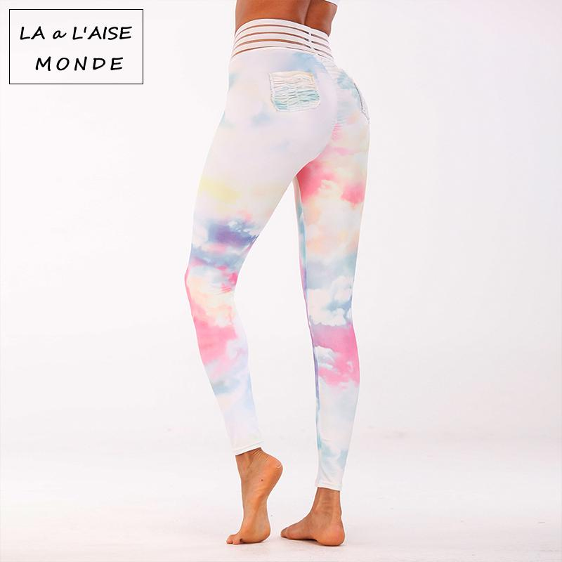 3f6c621fd4f853 2019 2018 Women Sexy Push Up Yoga Leggings Floral Print Sports Pants Gym  High Elastic Running Tights Sport Leggins Hip With Pocket From Yiquanwater,  ...