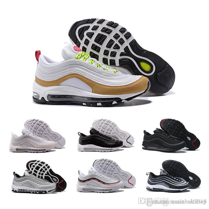 Alta Blanco De Oro Zapatos Descuento Negro Corrientes Tricolor Calidad Nike  Air 97 Zapatillas Nuevos Bala ... 88edc5326dd7e