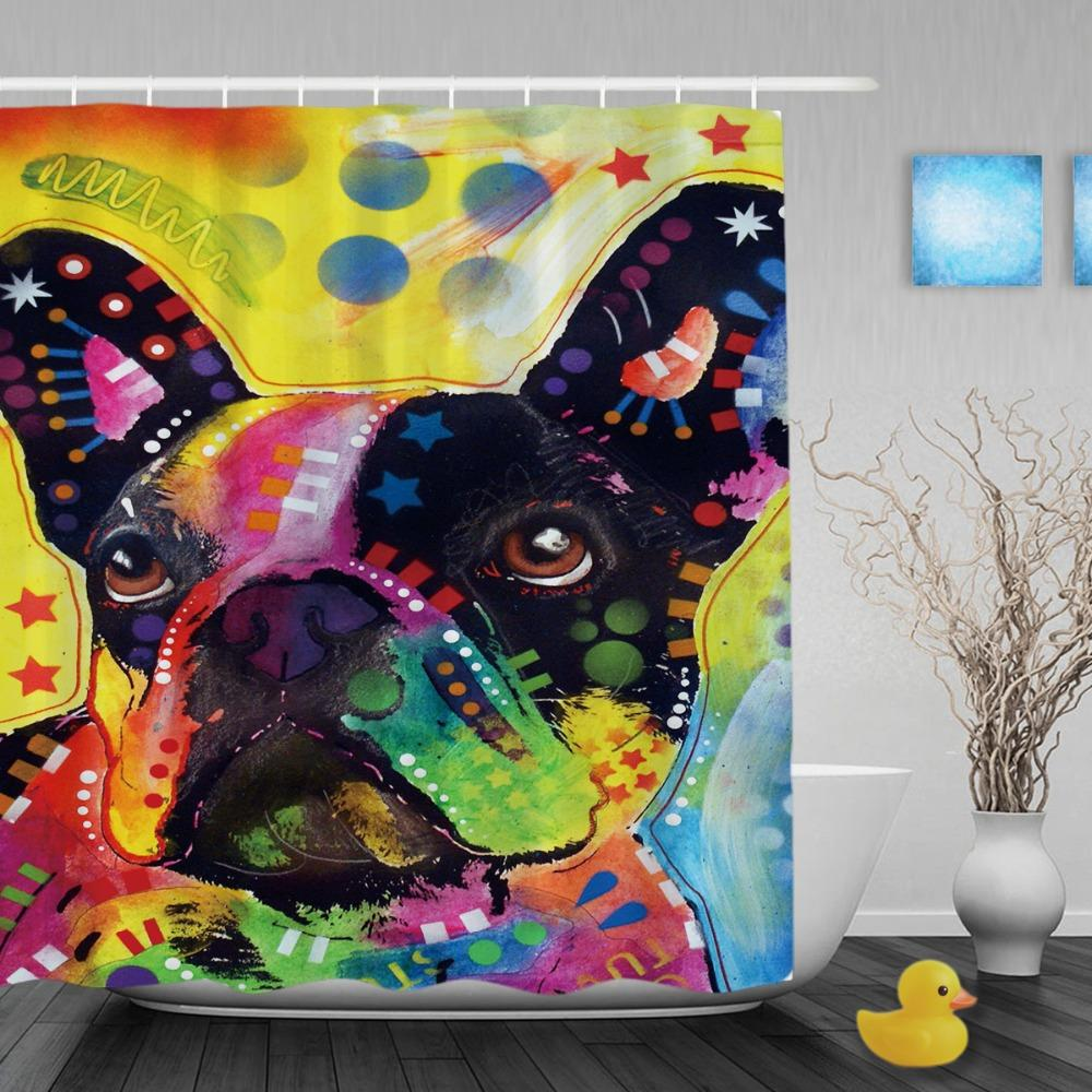 2018 Lovely French Bulldog Shower Curtains Art Dog Personalized