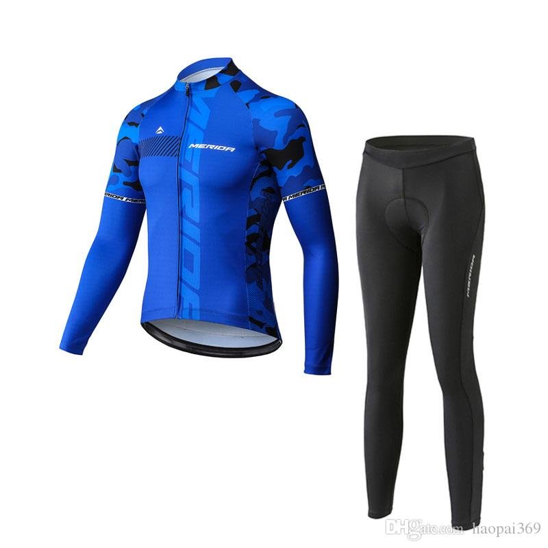 MERIDA team custom made Cycling long Sleeves jersey pants sets outdoor mens Full zipper Mountain bike riding clothes Q0741