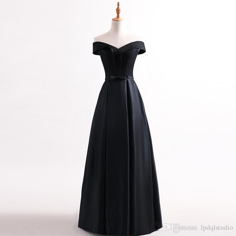 Off Shoulder Black Evening Dresses Elegant Satin Floor Length Prom Dress Lace-up/Zipper Back Formal Gowns Plus Size Custom Made