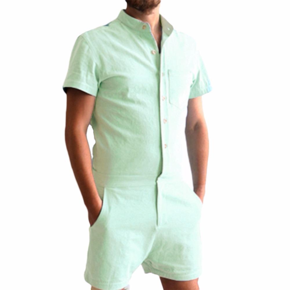 5903c04222 Compre Nuevo Verano Único Mameluco Hombres Camisa De Lino Conjuntos Cortos  Mono Pechos Mono De Moda Chándales Pantalones De Carga Ocasional A  49.33  Del ...