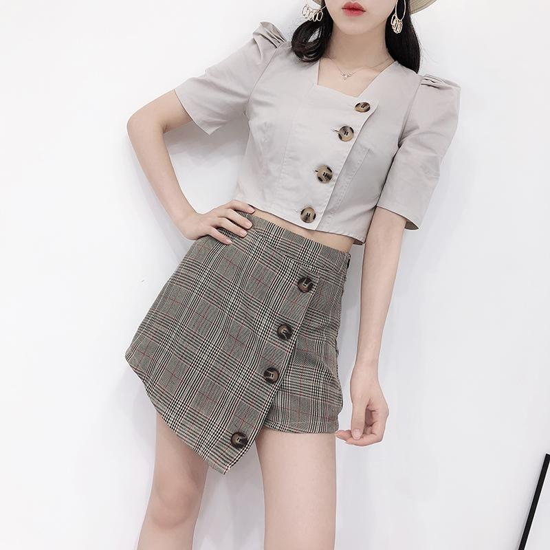 1f2056d1e058 2019 Women Sets Lady Summer Korean Chic Square Neck Half Puff Sleeve Single  Breasted Short Crop Tops + High Waist Plaid Skirts B615 From Feiyancao