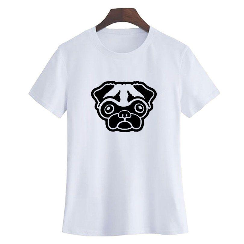8a55fd16a5cd Women's Tee Pug T Shirt Women Cute Pug Dog Face T Shirt Funny Animal  Graphic Tees Dog Lovers T Shirt Summer Casual Black White Tops