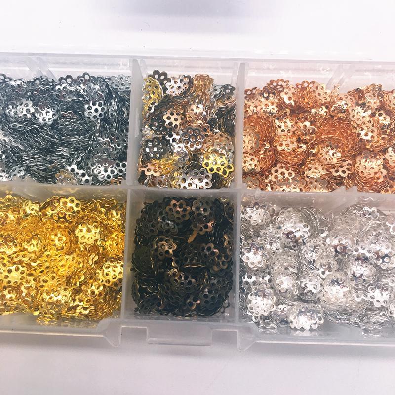Hollow Hallazgos de flores Cono Extremo de los granos Cap Filigrana DIY Fabricación de joyas 2000 unids / set 6 mm