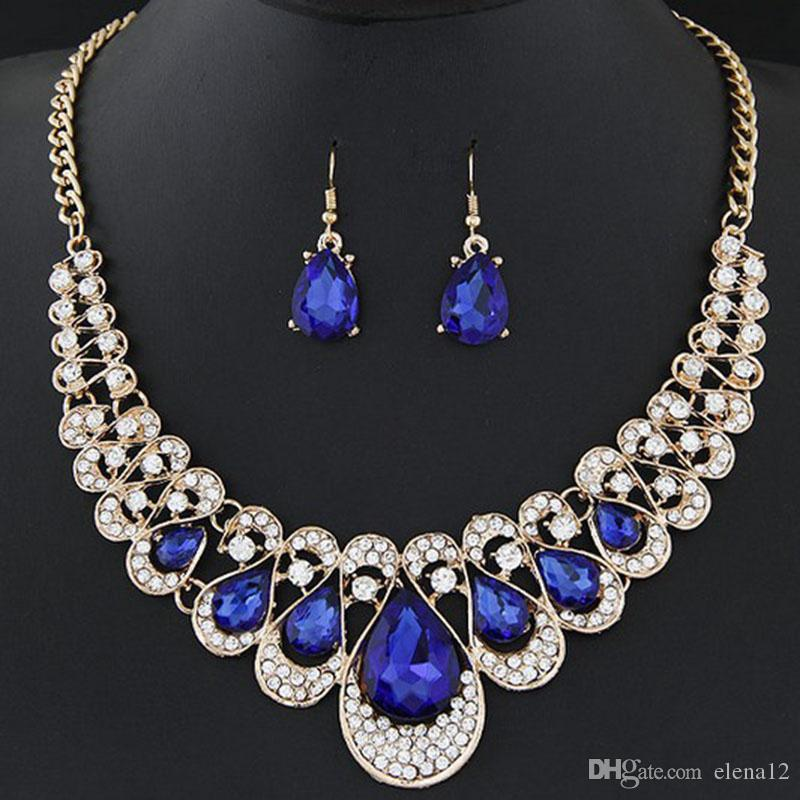 Crystal Gemstone Water Drop Statement Necklace Earrings Jewelry Sets Chokers for Women Fashion Gifts 162652