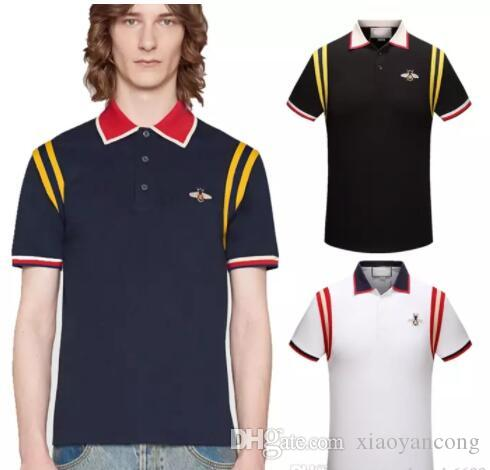 bbd9f76e776d 2019 Men S Casual Striped T Shirt 2018 New Fashion Lapel POLO Shirt Luxury Designer  Brand Embroidery Printing Cotton High Quality T Shirt  5203 From ...