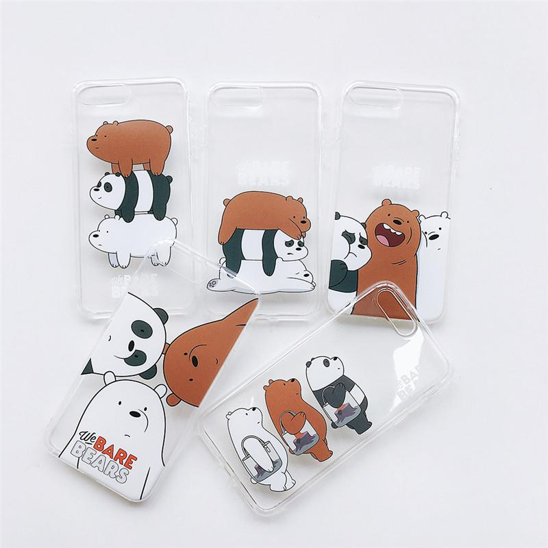 cheaper 308da eb29a 100pcs We Bare Bears Mobile Phone Covers Cases for iphone 6 6s 6Plus 7  8plus Soft Slim TPU Lovely Cute For iphone X Phone cases
