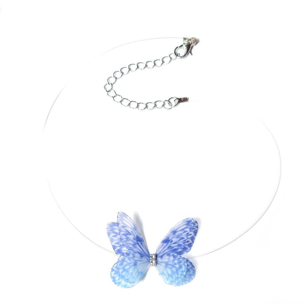 Versión coreana de la simple línea de pesca invisible collar adorno de cuello Lady Butterfly cadena de clavícula adornos collar D0193