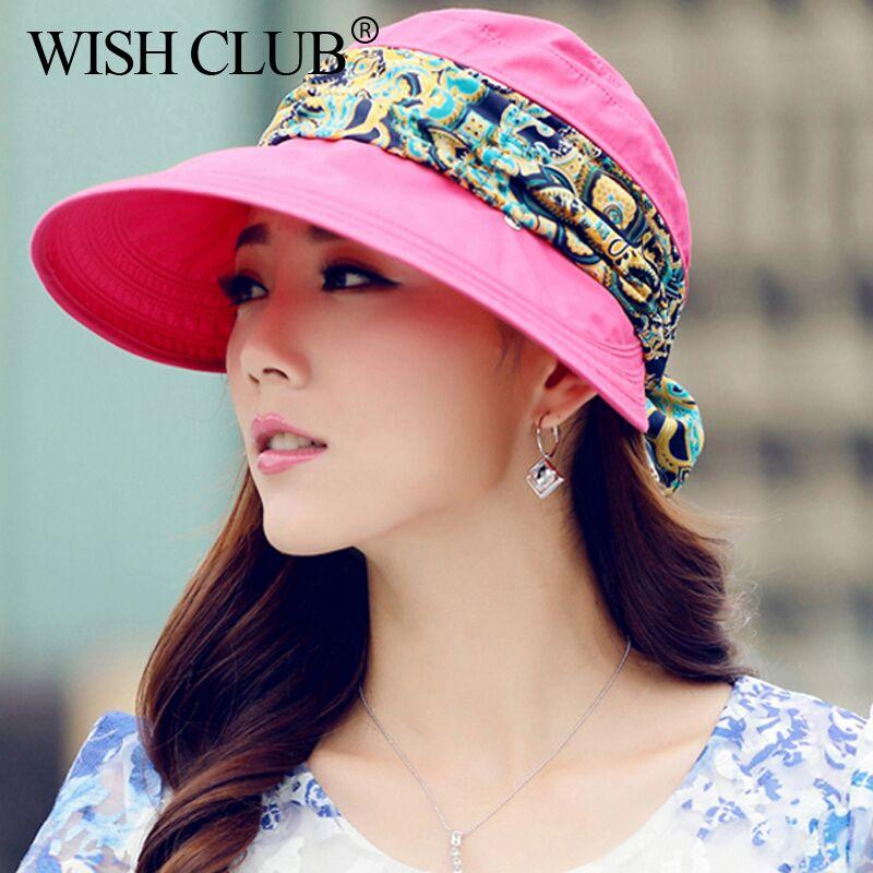 84c0311d4d0a2 New Fashion Women s Summer Sun Hat Foldable Big Brim Cap Hat Protection  Face Anti UV Adjustable Bone Drop Shipping Hat Hats From Alley66