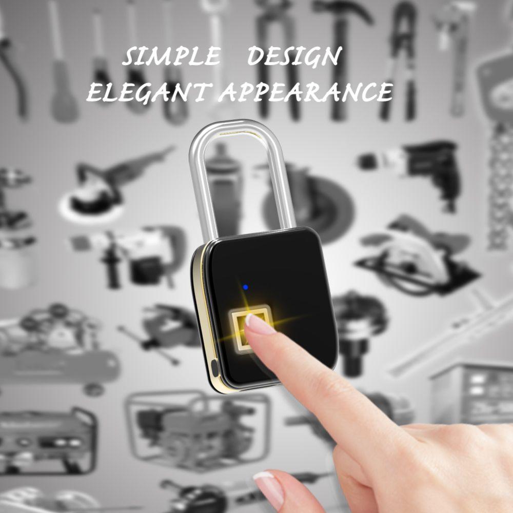Ip65 Mini Portable Metal Smart Intelligent Fingerprint Lock Padlock Simple Combination Anti Theft Outdoor Door Cabinet Bag Biometric