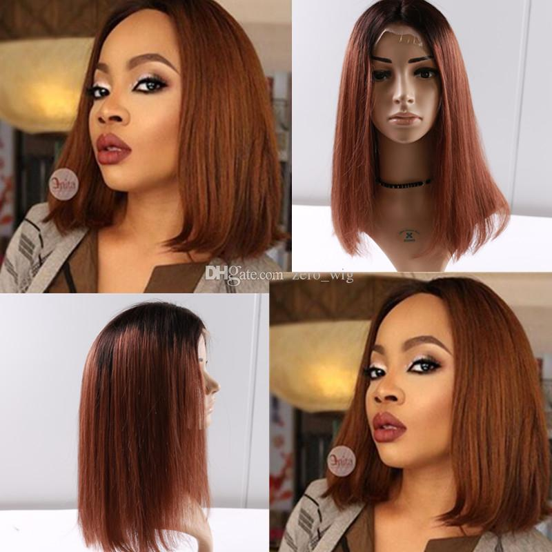 Brazilian Virgin Hair Glueless Full Lace Ombre Wig Bob Style 1B 30 Human Hair Bob Wig Lace Front Wigs For Women
